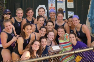 The women's water polo team celebrates their WAAC championship. (Hannah Mooney)