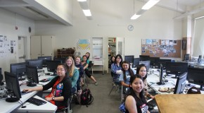 Technovation girls work on Android app